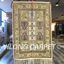 Yilong 2'x3' Garden Scenes Handmade Silk Carpets Classic Hand Knotted Rug W265C