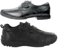 Boys Black Leather School Shoes Hook & Loop Dress Formal Easy On UK Sizes 10-6