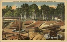 Tupper Lake NY Fish Creek Amphitheatre Adirondacks - Linen Postcard