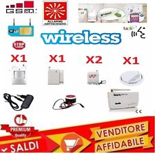 KIT CENTRALE ALLARME WIRELESS ANTINCENDIO INTRUSIONE FUMO WIFI SENZA FILI GSM