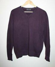 Burton London Designer Casual Knitwear Men's VNeck Jumper Cardigan Purple Size L