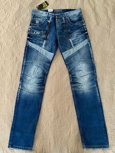 Cipo & Baxx Men's jeans pants moto biker patchwork NEW W32XL34