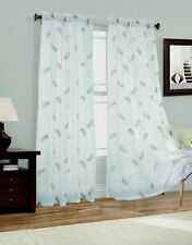 """New 2 Panel Feathers Embroider Sheer Voile Window Curtain Drapes 54"""" W x 63"""" L"""