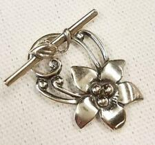 5 DESIGNER FLOWER TOGGLE CLASPS SILVER PLATED TOP QUALITY ( AE25 )