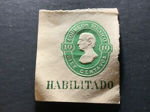Mexico Imperf HEAVILY EMBOSSED MH NG Circa 1887 Miguel Hidalgo 10 CENTAVOS