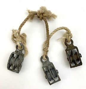 Lot of 3 Vtg Mini Metal Pulley Block & Tackle Double Industrial Farm Rigging