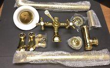 Randolph Morris Tub Faucet W/ Riser, Drain, Swing Arms, Shower Head - Brass