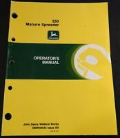 JOHN DEERE 550 MANURE SPREADER OPERATORS MANUAL OMW 40643 DO (310)