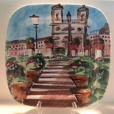 """16"""" VIETRI Wall Plate Square Platter Tuscan Villa Landscape Italy XLNT CONDITION"""