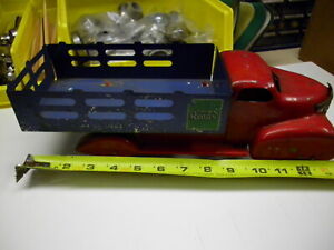 1930s MARX TOY READS DELIVERY STAKE TRUCK PRESSED STEEL ORIGINAL 14 INCH