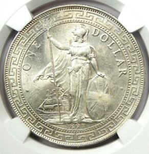 1897-B Great Britain Trade Dollar T$1. Certified NGC Uncirculated Detail. UNC MS