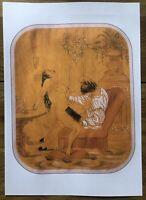"""Erotische Lithographie von Louis Jaugey """"Sex im roten Sessel"""" Akt im Jugendstil"""