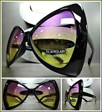 OVERSIZED EXAGGERATED VINTAGE Style SUNGLASSES Bow Shap Frame Purple Yellow Lens