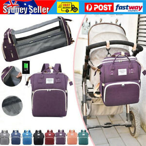 Large Changing Mummy Bag Maternity Nappy Diaper Crib Baby Bed Folding Backpack