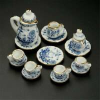 1/12th Dining Ware China Ceramic Tea Set Dolls House Miniatures Blue Flower Set