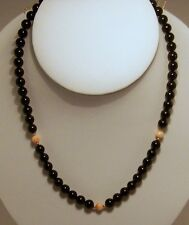 New hand strung 7 1/2 mm Black Coral bead necklace with pink coral & 14k beads