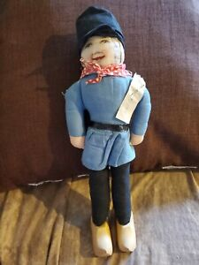"""Antique 14"""" European Holland Dutch Lithograph Cloth Doll Wooden Shoes Near Mint"""