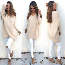 Plus Size Women's V Neck Long Sleeve Knitted Pullover Jumper Sweater Casual Tops