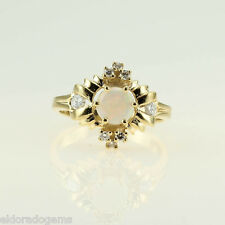 LADY'S HIGH END OPAL & 0.40 CT. DIAMOND CLUSTER RING 14K YELLOW GOLD SIZE 6.5