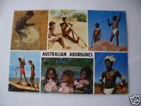 VINTAGE COLOUR PHOTO POSTCARD ABORIGINAL AUSTRALIA ABORIGINES SPEARS PAINTING