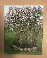 """Original Hand Painted, Acrylic Painting Of Lilacs, 11""""x14"""", Spring Blossoms"""