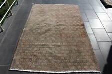 Turkish Handmade Oushak Carpet Anatolian Traditional Boho Rug 4.4 x 6.6 ft