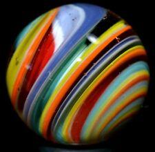 "JAY SLACK HANDMADE GLASS MARBLE/1.166""-RAINBOW CORKSCREW-YELLOW,PEACH,TEAL,ORG.+"