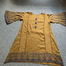 pakistani designer salwar kameez/ Kurti embroidered linen M/L new