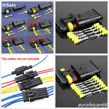 30 Kit 1/2/3/4/5/6 Pin Ways Car Motorcycle Electrical Wire Connector Plug Sealed