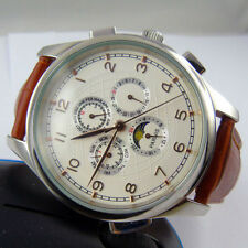 44mm parnis white dial day date Moon Phase gold marks automatic mens watch