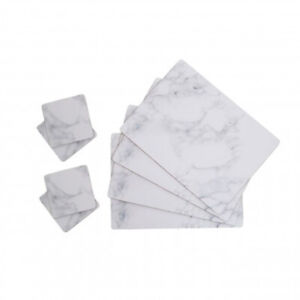 Set of 8 Marble Effect Cork Placemats and Cups Coasters Place Mats Dining Table