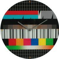 """Glas-Wanduhr Wall Clock Ø ca. 34 cm Uhr mit ansprechendem Motiv: """"Testbild"""""""
