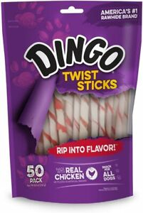Dingo Twist Sticks Rawhide Chews, Made with Real Chicken, 50-Count