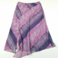 Wrapper Skirt Small Asymmetrical A-Line Pink Purple Paisley Mid-Calf Floral I40