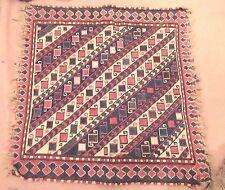 antique 1800's hand woven wool 4 color Caucasian Kazak rug textile  mat square