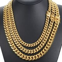 Miami Cuban Curb Mens Necklace Chain 316L Stainless Steel Gold Silver Necklaces