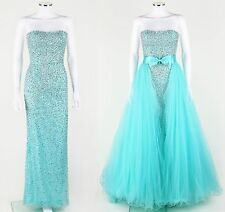 SHERRI HILL 2896 AQUA TURQUOISE STRAPLESS BEADED PROM PAGEANT GOWN OVERSKIRT 0