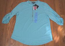 NWT Womens ELLEN TRACY Blue Radiance Priest Collar Silver Zipper Shirt XXL