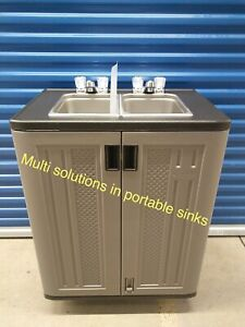 Portable doble sink mobile Handwash Self contained hot and cold  water 110V