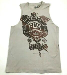 FOX Racing Cut Off Shirt Gray Tank Top Men's Size Small S Gym Sleeveless Loose