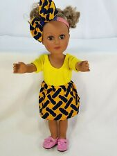"""18"""" Doll Outfit African-American Ankara Kente/Ketenge Yellow Top Skirt Bow Toys"""