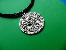 Ancient Thracian applique necklace pendant medallion brass silver plated