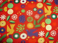 "17"" x 43"" Merry Modernica Christmas Mistletoe Doves Snow Holly on Cotton Fabric"