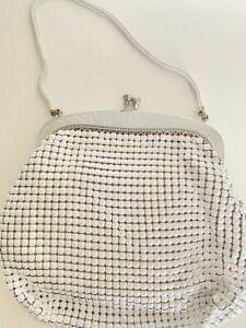 70s Genuine Glomesh Bag /Purse White/Silver + Bonus Vintage Mirror - Pink Satin