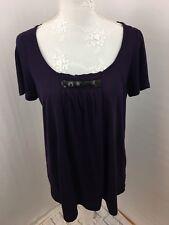Metro 7 Top Ladies Deep Purple Size M Short Sleeves Loose Fit