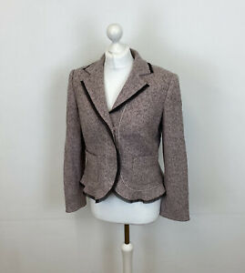 Monsoon Pink Tweed Blazer Jacket Wool Angora Mix Sz 12 UK Ladies