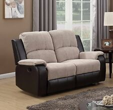 Beige Brown High Quality Fabric Manual 2 Seater Recliner Sofa Suite PASCARA