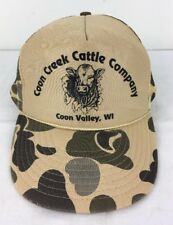 Vtg Coon Creek Cattle Co Trucker Hat Coon Valley WI Camo Mesh Foam Adjustable