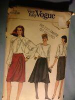 Vintage Vogue Uncut Pattern Size 12 14 16 Pattern Skirt 8462 flared yokes