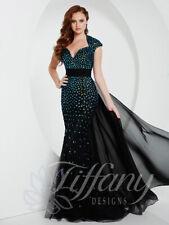 Tiffany Designs Prom Dress 16151 Black/Teal Size 8 NWT